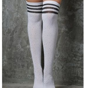 d919d4af2 Accessories - NEW 🌈 Crystal White Black Stripe Thigh High Socks